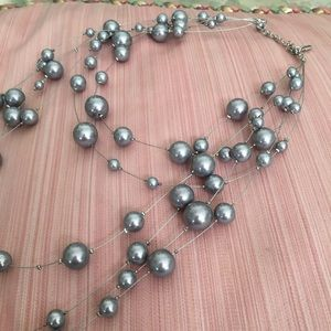 Gray Blue Pearl Cascading Necklace